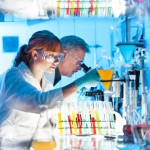 Health care professionals working in laboratory.